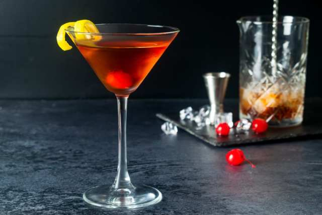 A Bowmore Manhattan Whisky Cocktail in a martini glass
