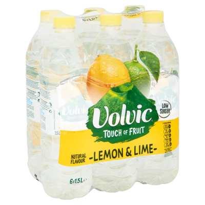 Volvic Touch of Fruit Flavoured Water Lemon & Lime 6 x 1.5ltr Bottles