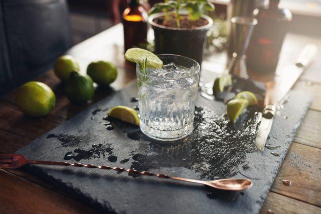 Gin, tonic & garnish on a sideboard