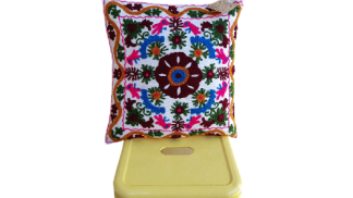 White suzani embroidered cushion