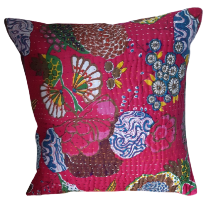 pink cushion cover made from vintage recycled saris