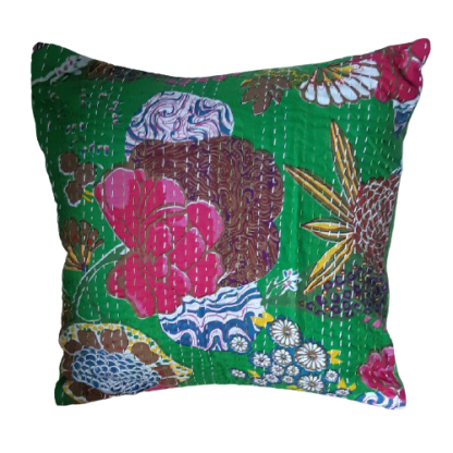 green patterned sari fabric turned into a cushion cover