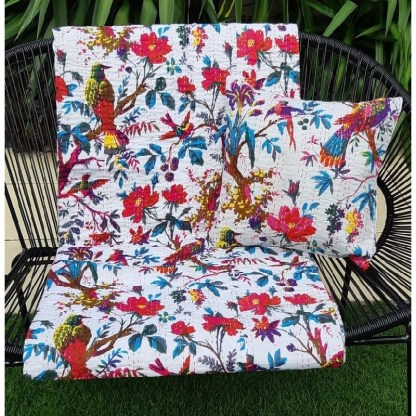 tropical throw blanket and matching cushion