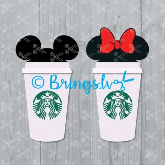 Mickey And Minnie Mouse Starbucks Logo Svg Png Dxf