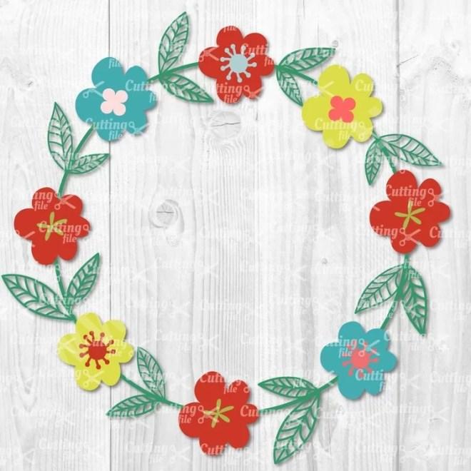 flower wreath svg cut file