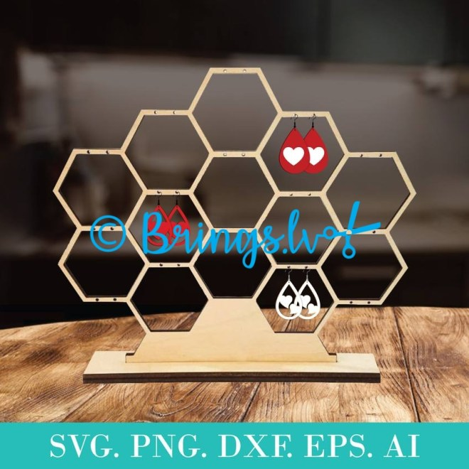 Honeycomb Jewelry Display Template SVG