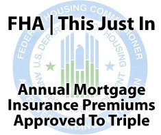 FHA mortgage insurance premiums approved to triple