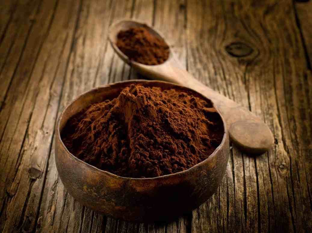 cacao powder on wood bowl