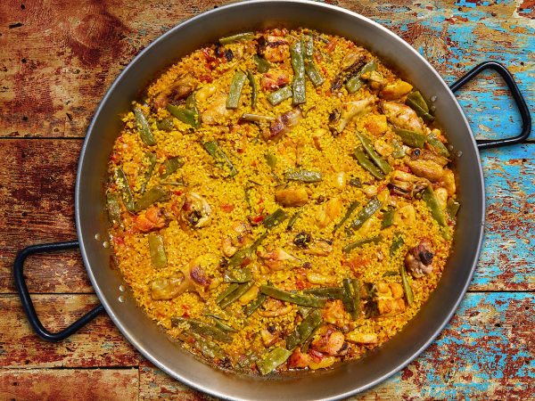 Paella valenciana available at Brio Tapas Bar and Restaurant available through our click and collect menu.