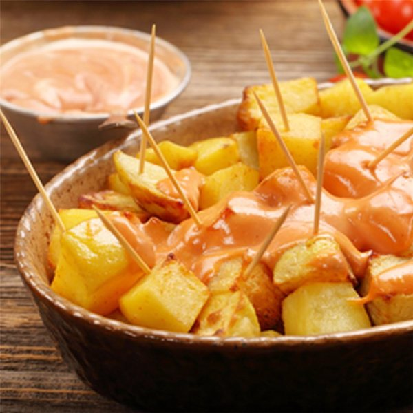 Patas bravas available for click and collect at Brio Tapas Bar & Restaurant Clapham.
