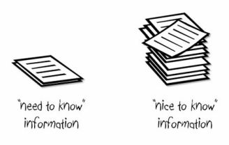 Nice to know vs Need to know information