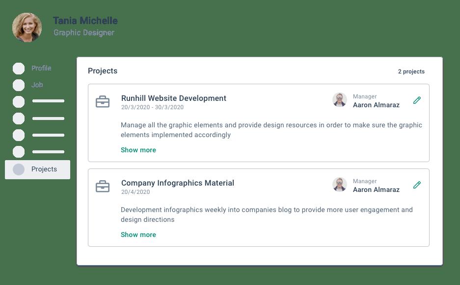 BrioHR timesheet project profile