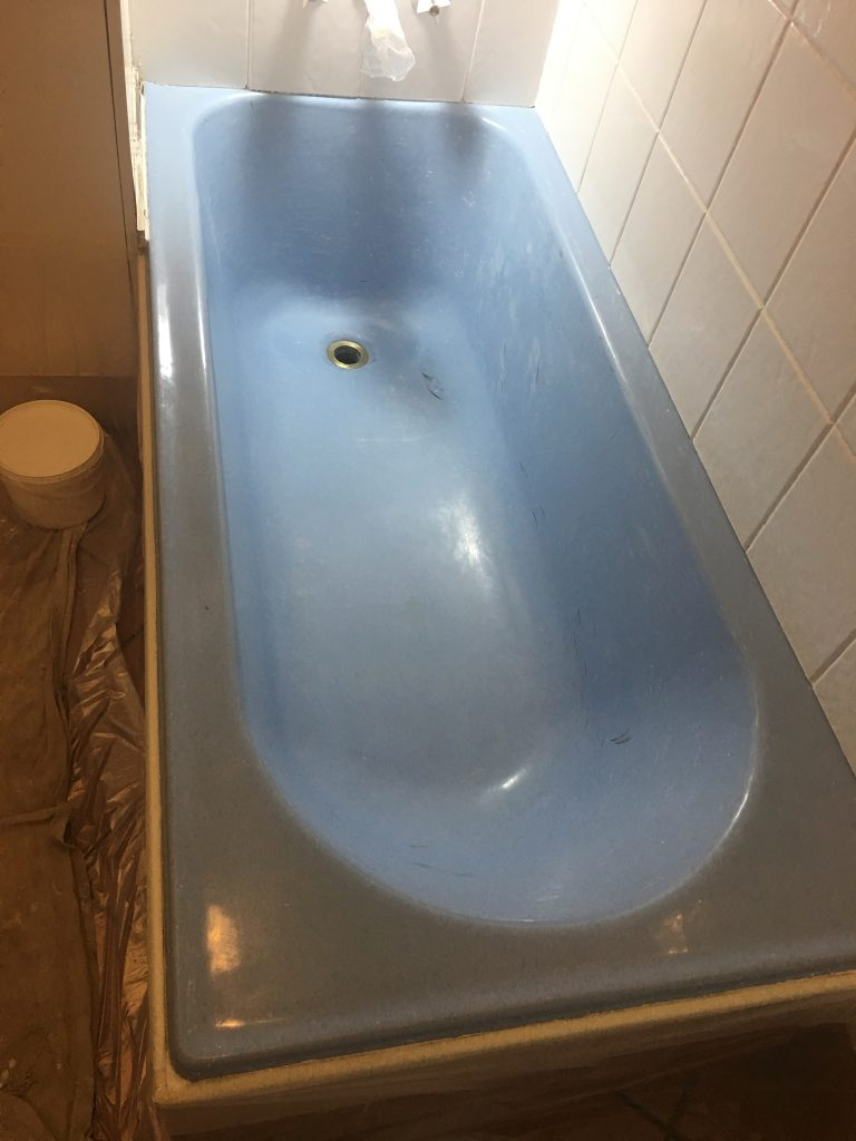 Classic blue cast-iron bath