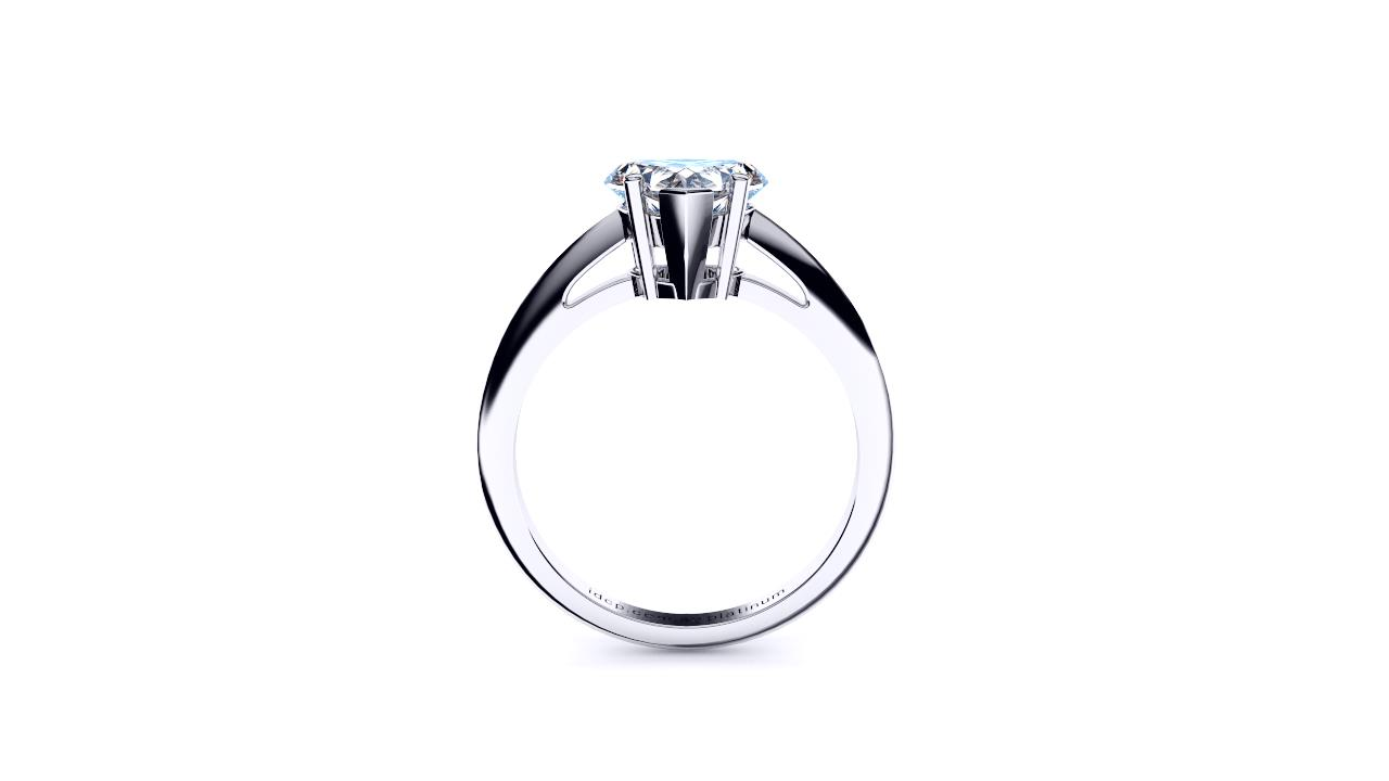 Brisbane diamond heart solitaire engagement ring in white gold side