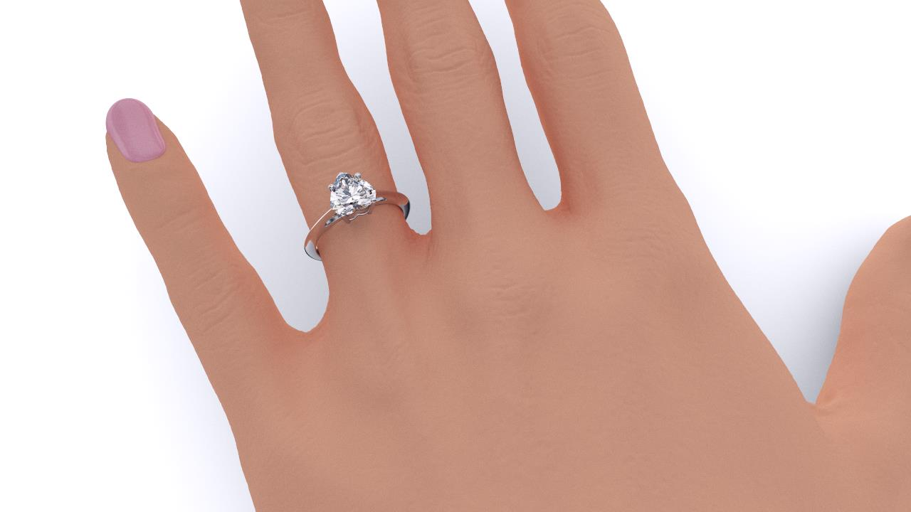 Brisbane diamond heart solitaire engagement ring in white gold hand view