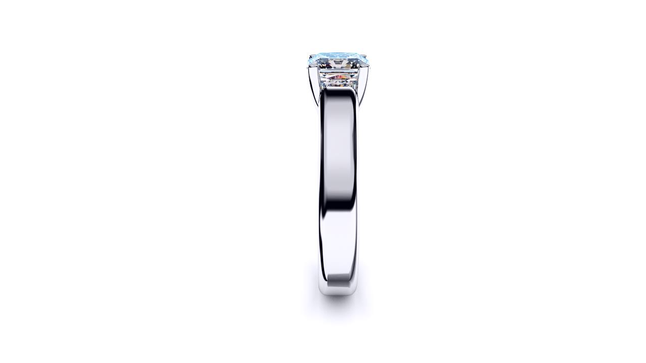 Radiant cross over wide band solitaire by Brisbane Diamond Company edge view