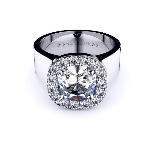 Brisbane diamond engagement ring cushion halo with wide band in white gold
