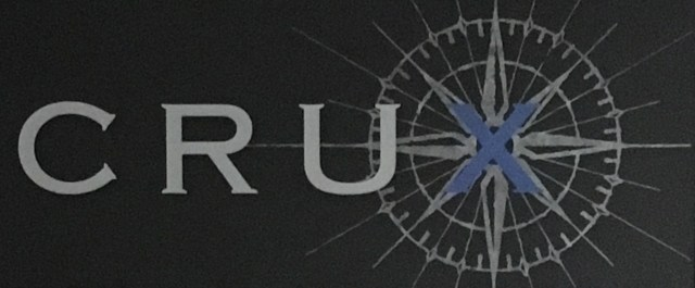 Close up of Crux Winery logo