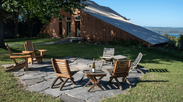 Guests at Silver Thread Vineyard in the Finger Lakes will need to be seated outside and order food with their tasting for now. (Courtesy Silver Thread Vineyard)