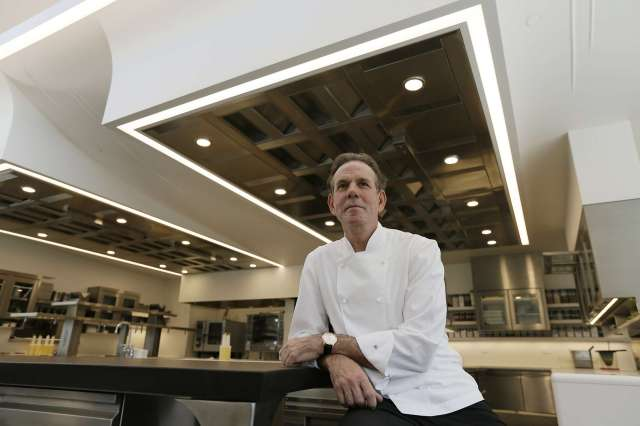 This March 9, 2017, file photo, shows celebrated chef Thomas Keller in the kitchen of his French Laundry restaurant in Yountville, Calif. On Tuesday, the chef deleted his Twitter account after his latest online controversy. Eric Risberg/Associated Press