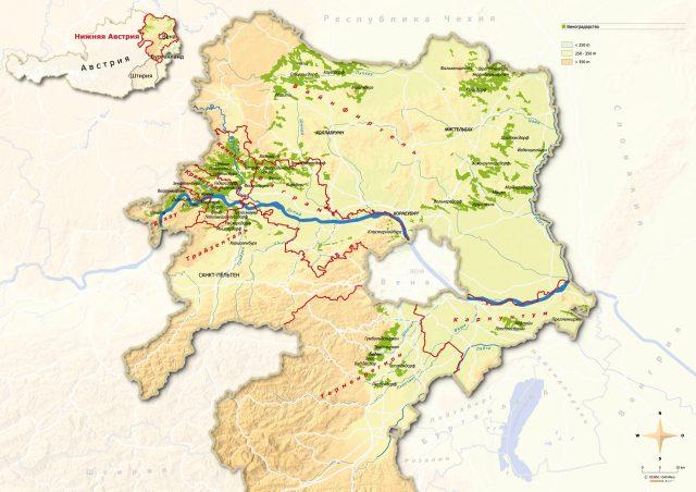 Topografische Karte Niederösterreich russisch; AustrianWine.com