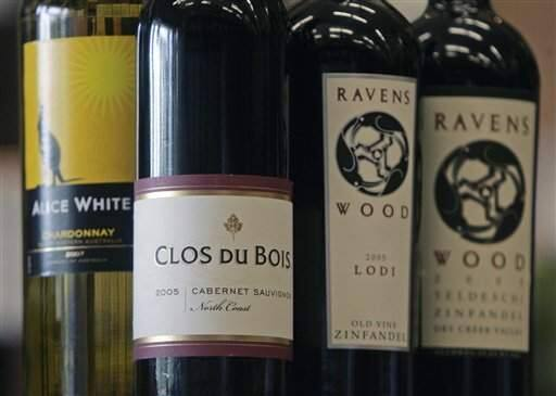 Bottles of Clos Du Bois, Ravens Wood and Alice White, wines in the Constellation Brands, are seen at Empire Wine and Liquor Outlet in Colonie, New York, Tuesday, July 1, 2008. (Mike Groll) / Associated Press