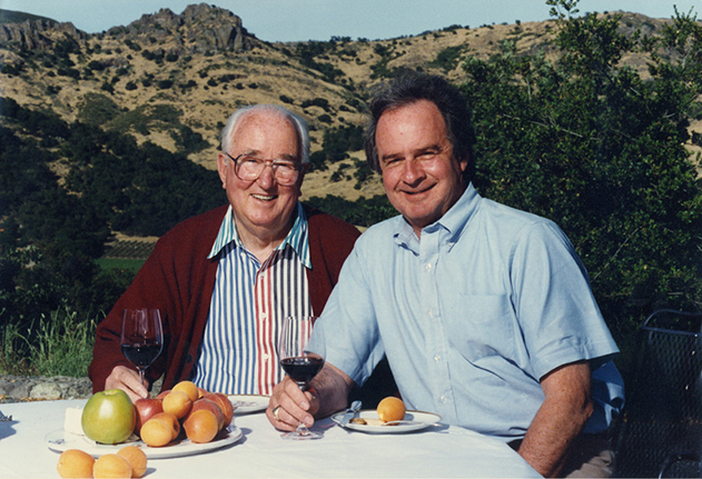 Nathan Fay, left, and Warren Winiarski in 1986 above the vineyards.