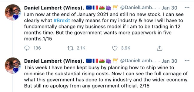 Daniel Lambert's series of Twitter threads went viral and resulted in him becoming the focus of attention for the national media on Brexit and its impact on the wine industry