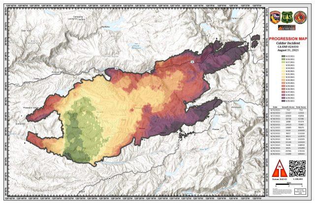 Caldor Fire Projection Map / CalFire