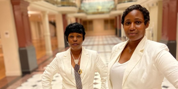 Kimberly Johnson (front, right) and Denise Matthews (back, left), owners of Philosophy Winery / Courtesy Philosophy Winery