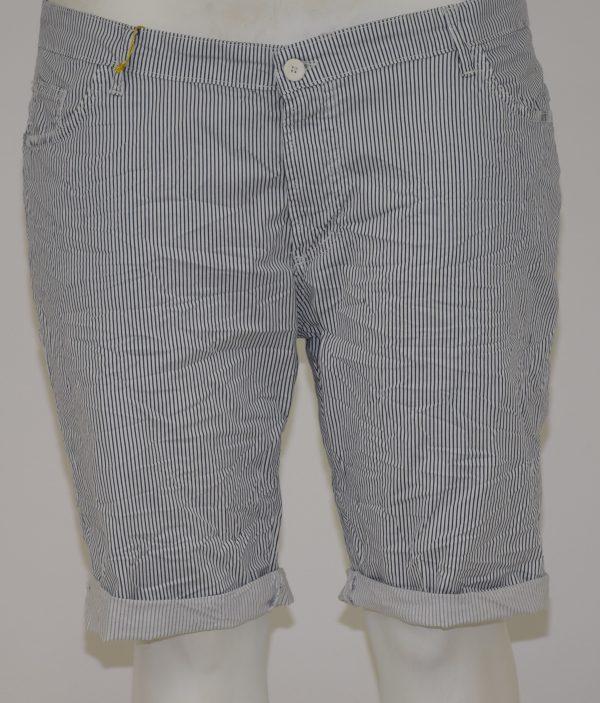 bermuda a righe bianco e blu, apertura a zip e bottone con 5 tasche