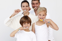 A family brushing their teeth together - Mississauga Dentist - Bristol Dental