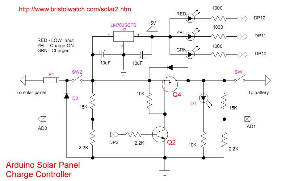 Solar Panel Battery Charge Controller Switching Circuit