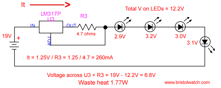 LM317 Constant Current Source For Lighting LEDs