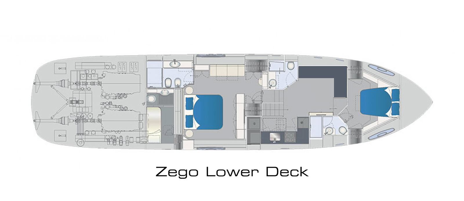 Pershing 70 Lower Deck