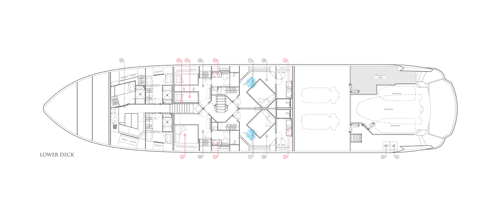 Sunseeker 115 Predator Zulu Lower Deck Layout