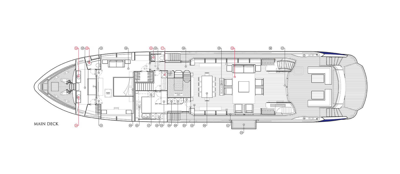 Sunseeker 115 Predator Zulu Main Deck Layout