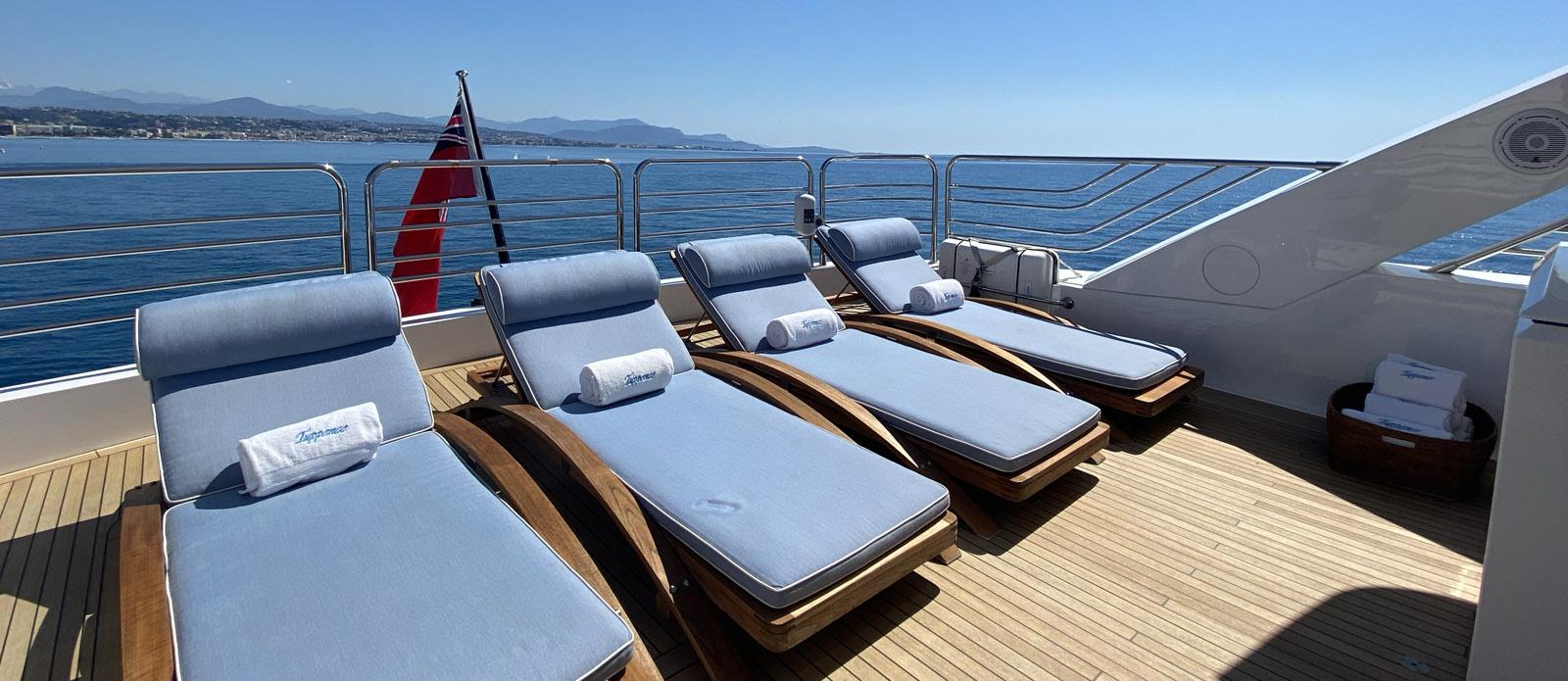 Sunbathing-Tuppence-Sunseeker 30m Yacht