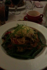 Spaghetti primavera at Anna's. Delicious vegetables (much needed after a long day in the car). Couldn't finish it all.