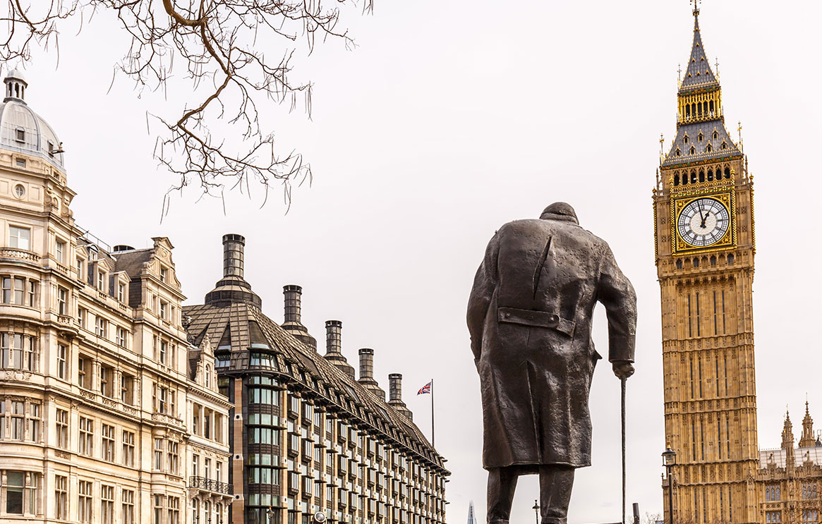 churchill statue and big ben