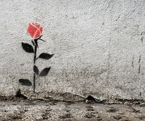 A flower painted on a wall as street art in East London