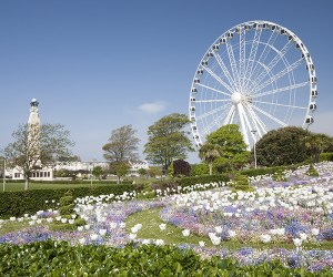 The National Naval War Memorial and the 'Big Wheel' attraction on Plymouth Hoe