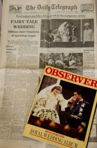 Newspaper announcing the wedding of Charles and Diana