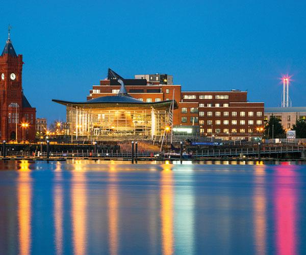 Cardiff dockside by night
