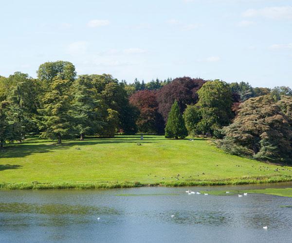 Garden and lake at Close up of Blenheim Palace