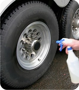 BritePlus MX applied to wheels with a hand spray bottle