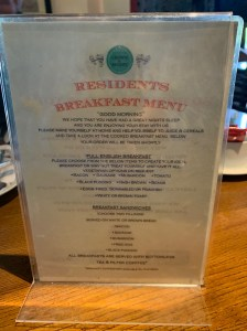 Crown and Sandys - Breakfast Menu