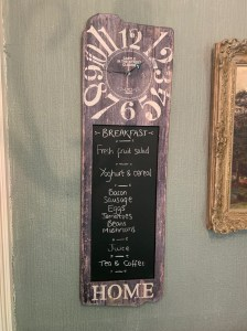 Menu - One Castle Street B and B - Bakewell
