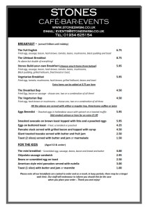 Stones - Weston-Super-Mare Breakfast Menu 2019