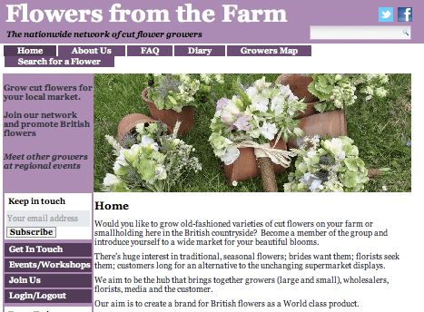 Flowers From the Farm website homepage